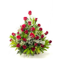 One sided arrangement with 25 roses